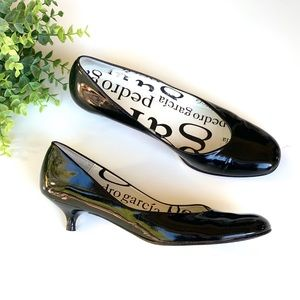Pedro Garcia Black Kitten Heel Round Toe Pump
